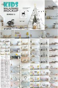 CreativeMarket - KIDS WALL & FRAMES Mockup Bundle - 2
