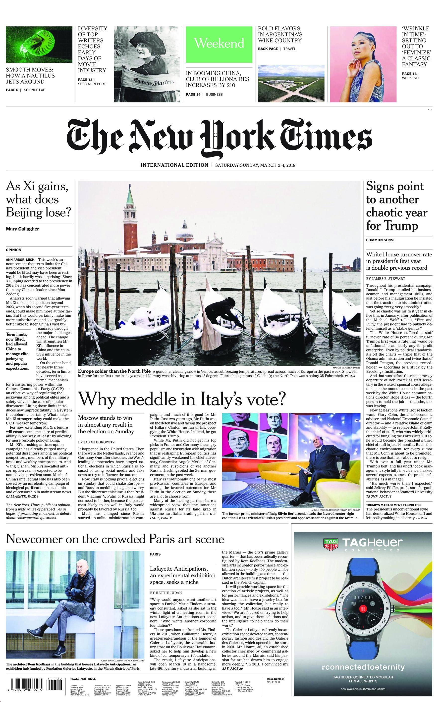 International New York Times - 03 March 2018