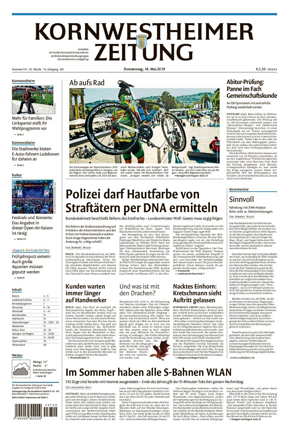 Kornwestheimer Zeitung - 16. Mai 2019
