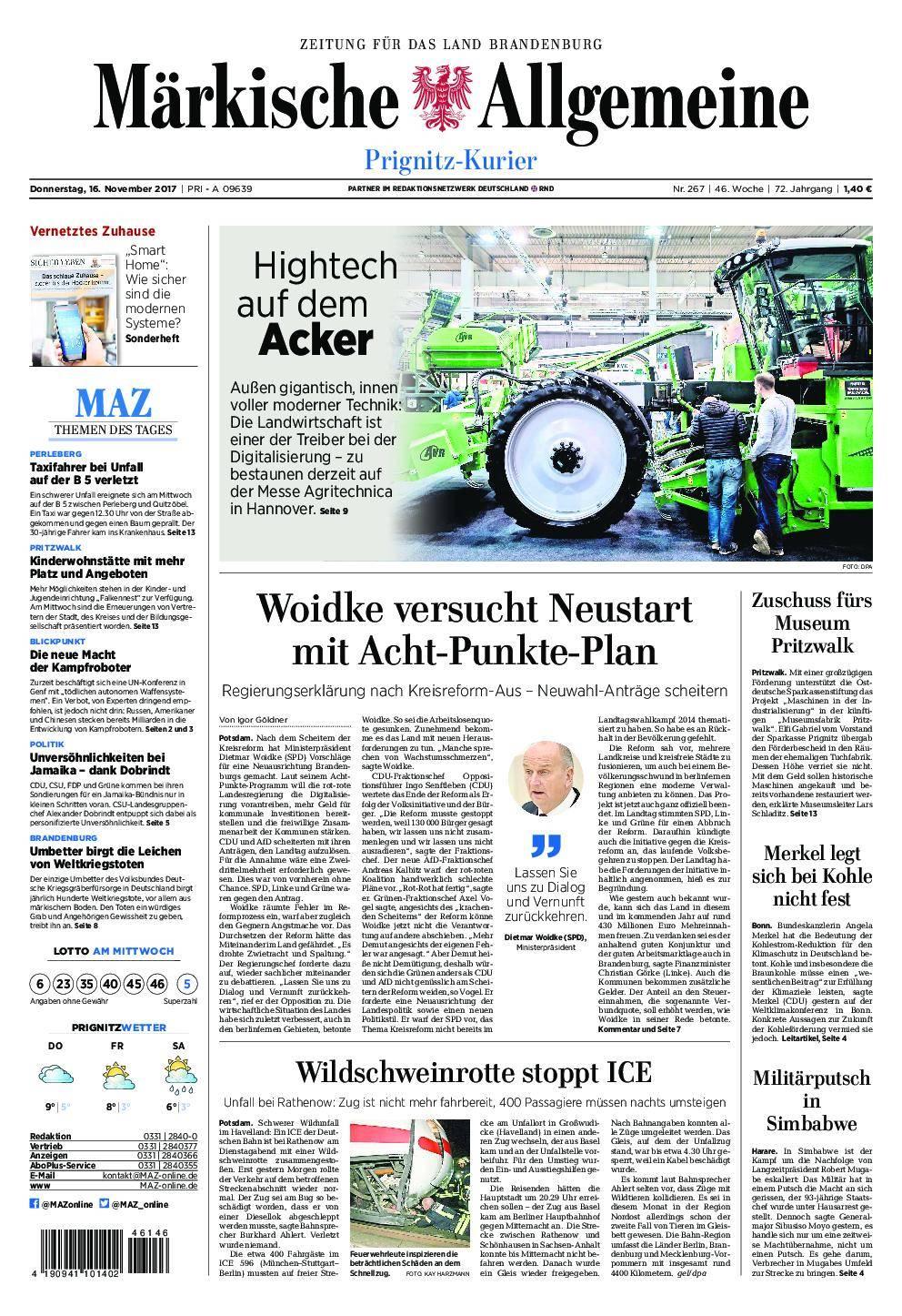 Märkische Allgemeine Prignitz Kurier - 16. November 2017
