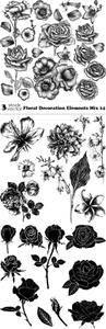 Vectors - Floral Decoration Elements Mix 14