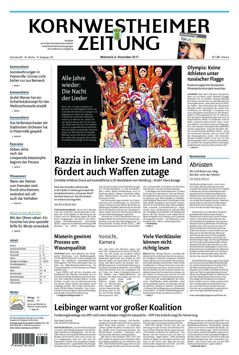 Kornwestheimer Zeitung - 06. Dezember 2017