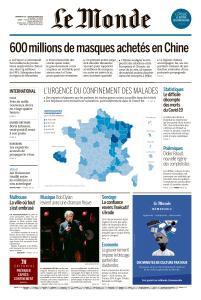 Le Monde du Dimanche 29 et Lundi 30 Mars 2020