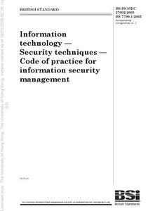Information technology. Security techniques. Code of practice for information security management