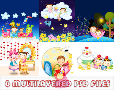 6 multilayered PSD files