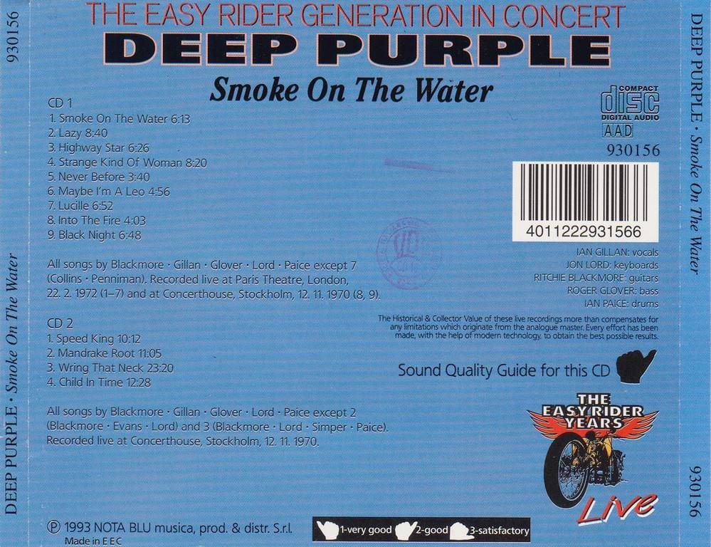 Deep Purple Smoke On The Water 1993 The Easy Rider