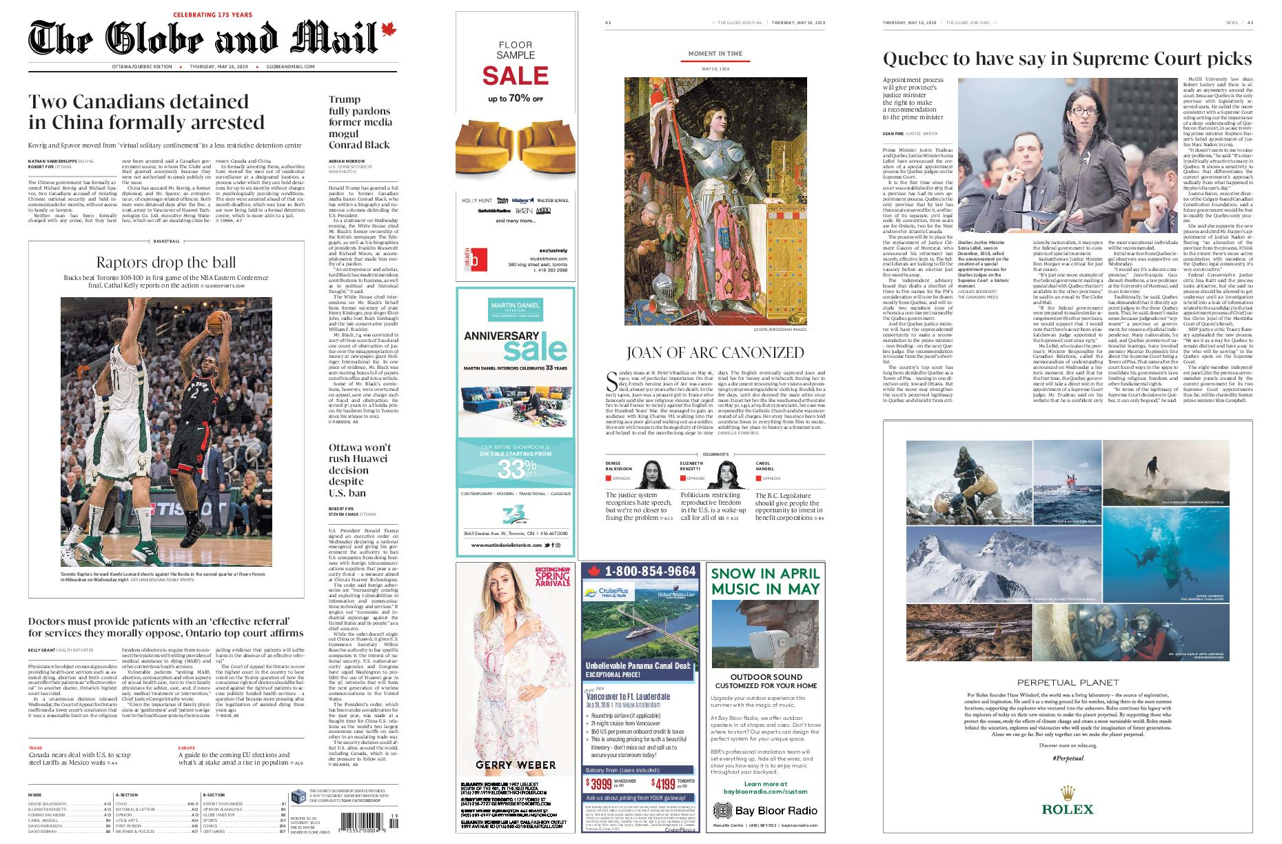 The Globe and Mail – May 16, 2019