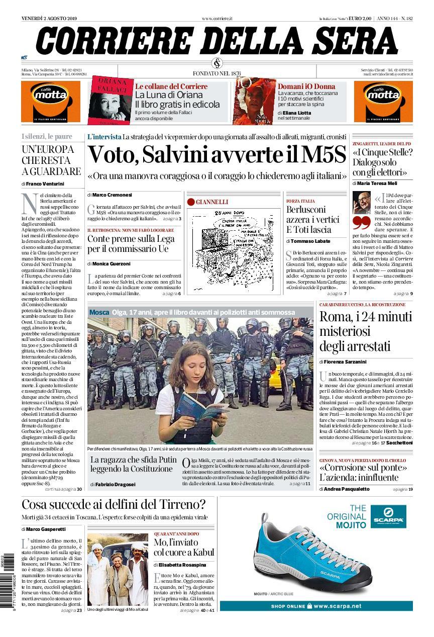 Corriere della Sera – 02 agosto 2019