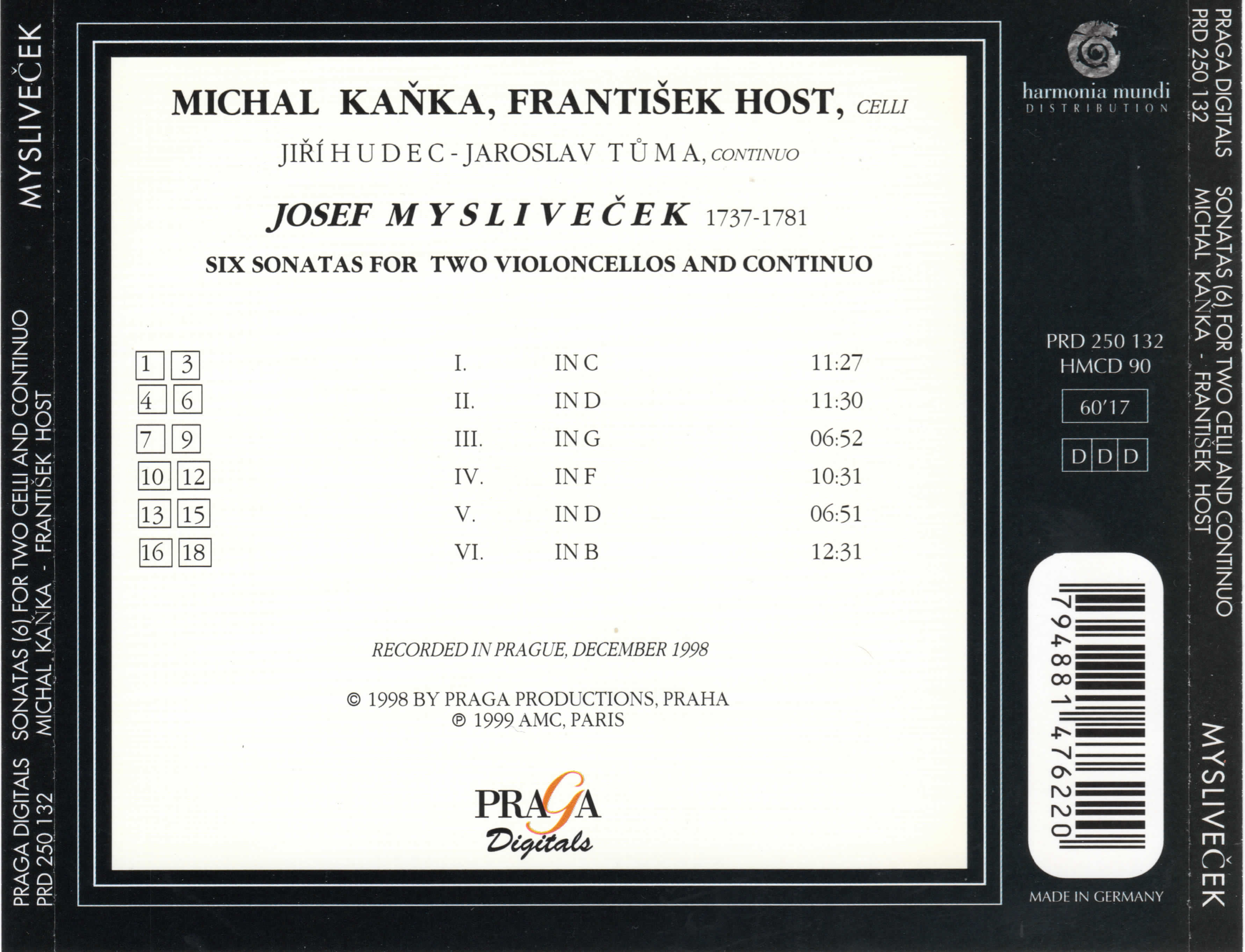 Michal Kanka, Frantisek Host, Jiri Hudec, Jaroslav Tuma - Mysliveček: Sonatas for Two Cellos and Continuo (1999)