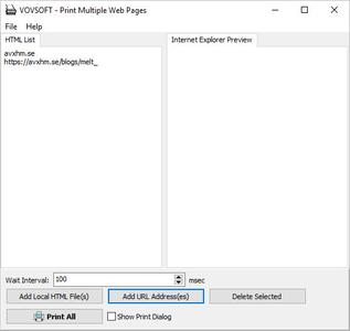 VovSoft Print Multiple Web Pages 1.8