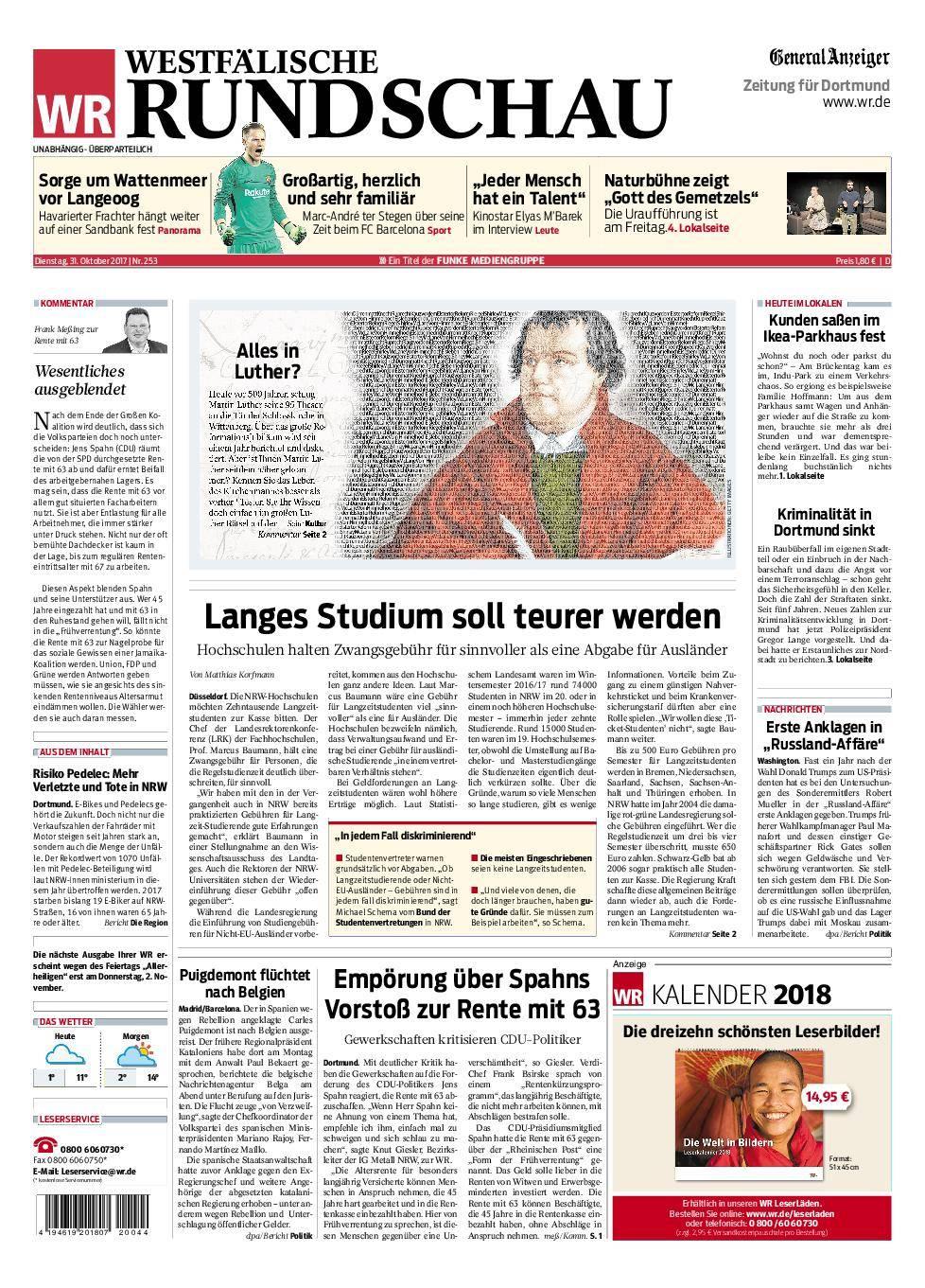Westfälische Rundschau Dortmund-Süd II - 31. Oktober 2017