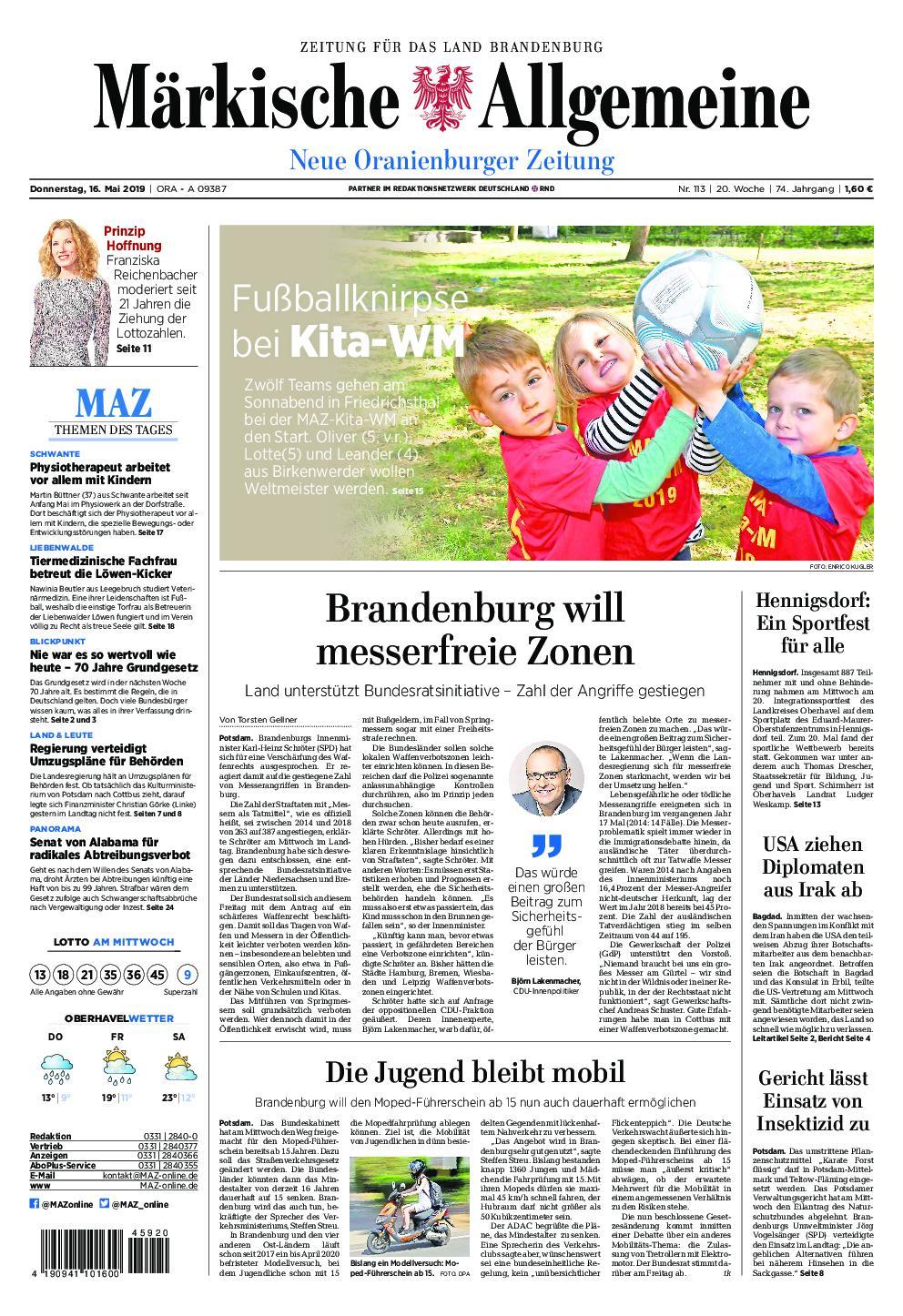 Neue Oranienburger Zeitung - 16. Mai 2019