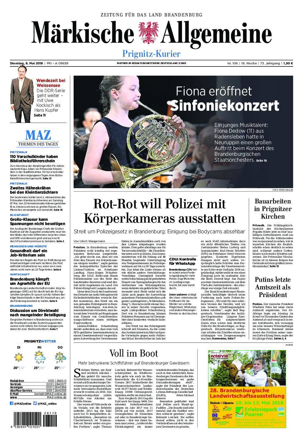 Märkische Allgemeine Prignitz Kurier - 08. Mai 2018