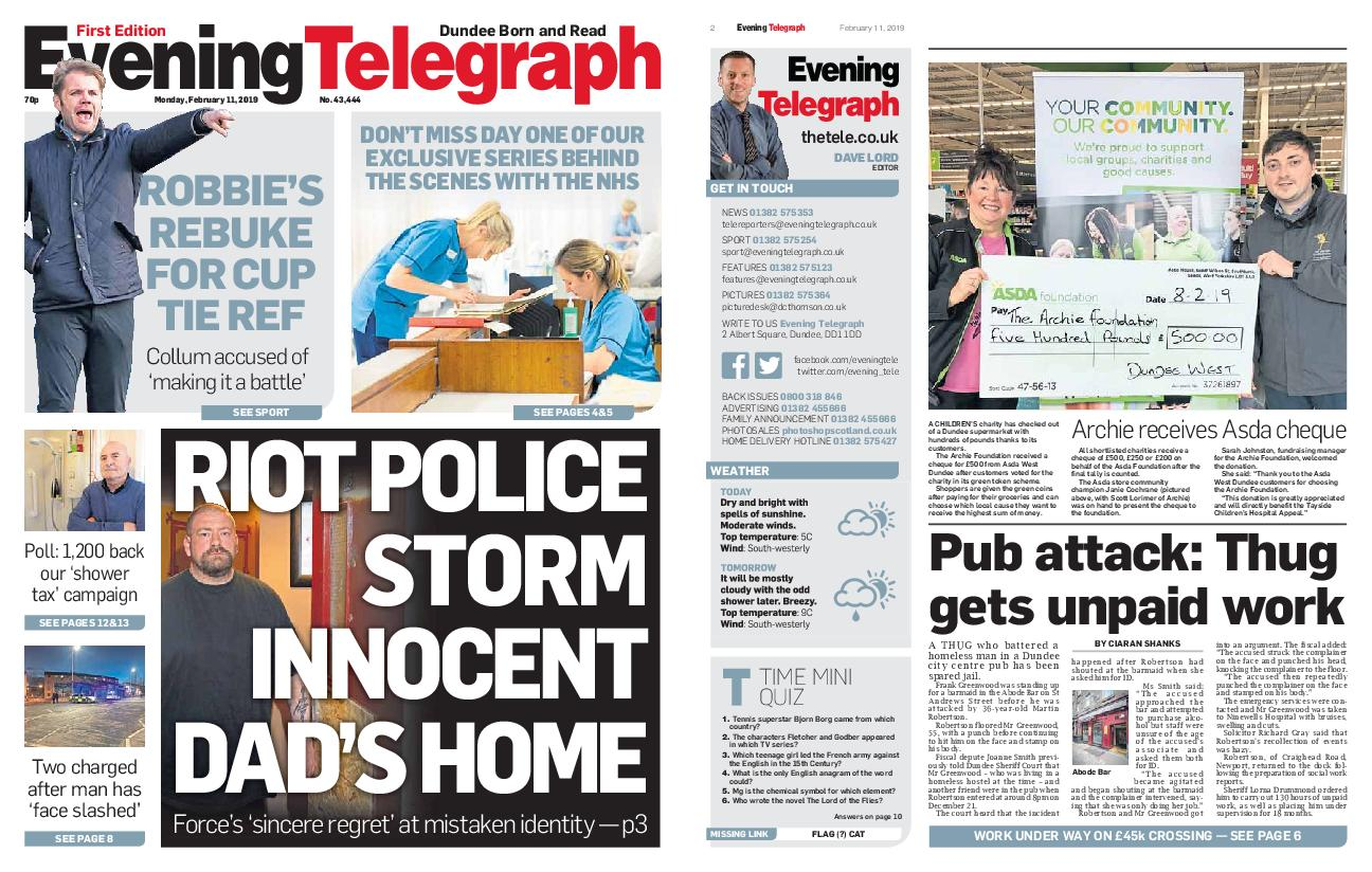 Evening Telegraph First Edition – February 11, 2019