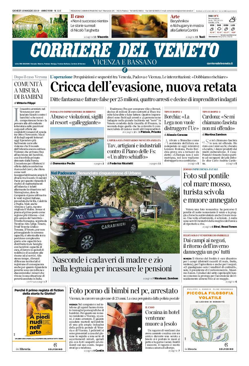 Corriere del Veneto Vicenza e Bassano – 16 maggio 2019