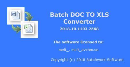 Batch DOC to XLS Converter 2019.11.315.2623