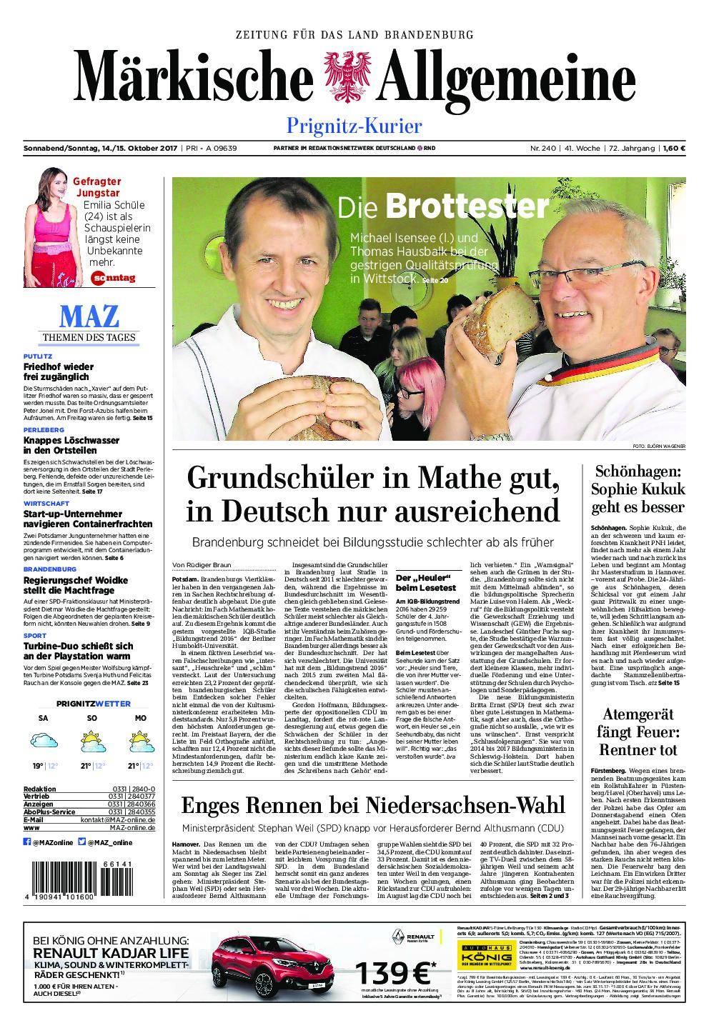 Märkische Allgemeine Prignitz Kurier - 14. Oktober 2017