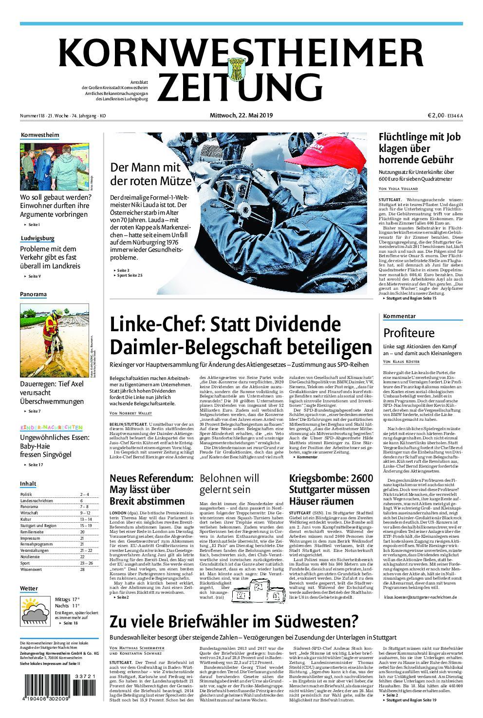 Kornwestheimer Zeitung - 22. Mai 2019