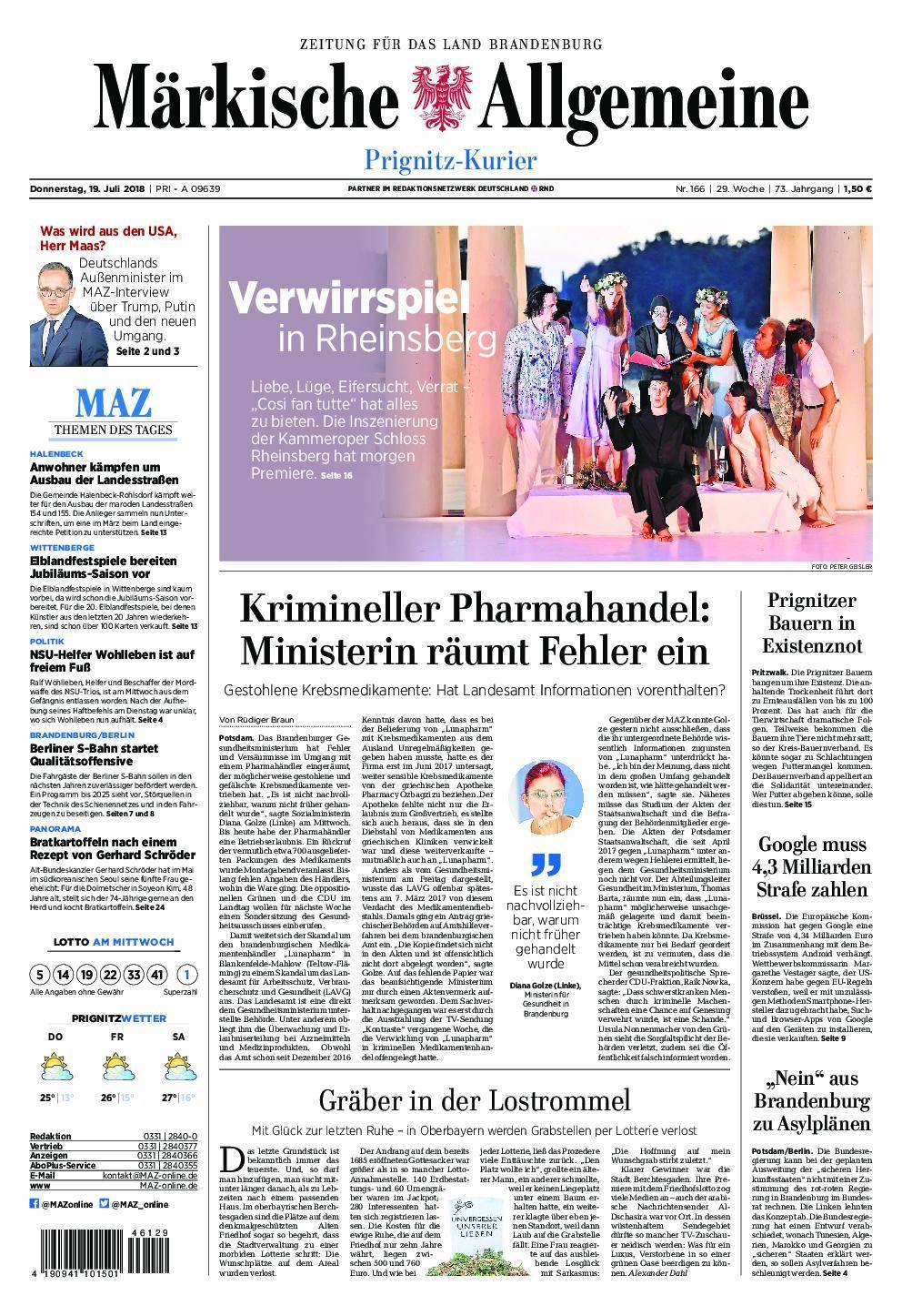 Märkische Allgemeine Prignitz Kurier - 19. Juli 2018