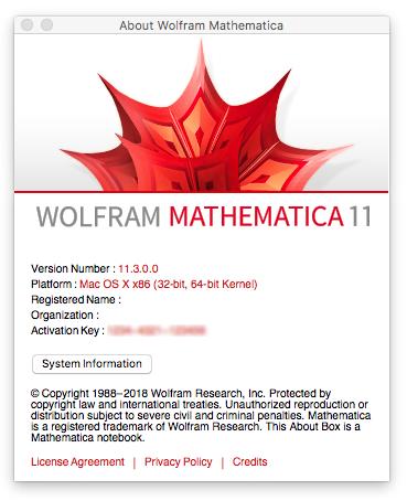 Wolfram Mathematica v11.3.0 (macOS / Linux)