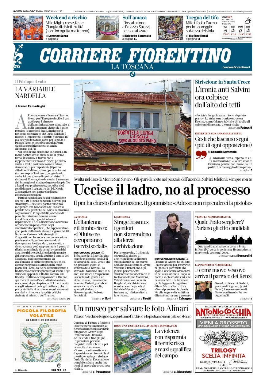 Corriere Fiorentino La Toscana – 16 maggio 2019