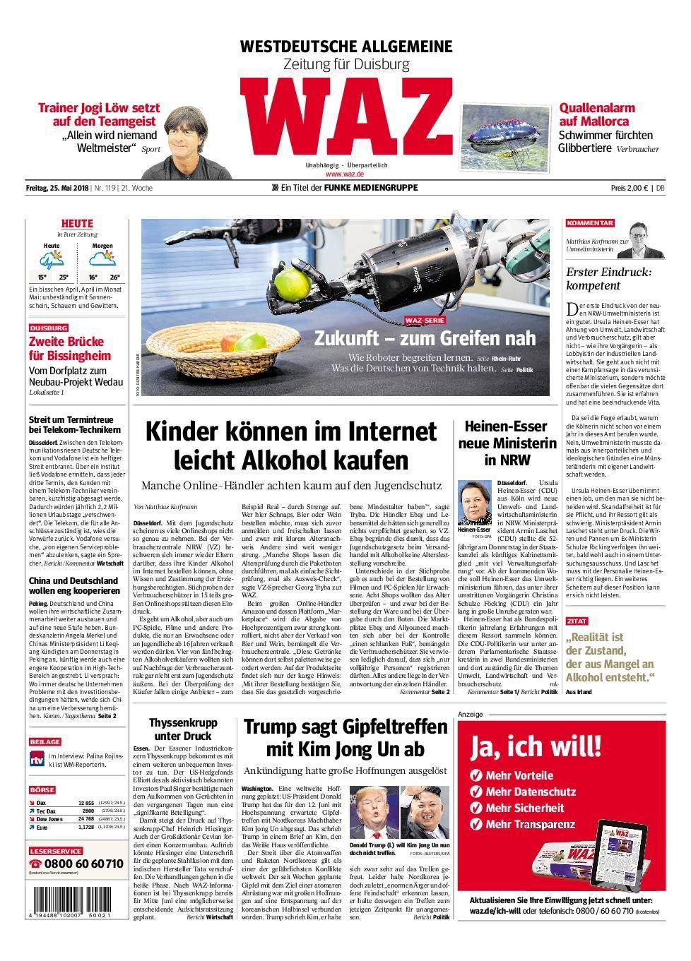 WAZ Westdeutsche Allgemeine Zeitung Duisburg-Mitte - 25. Mai 2018