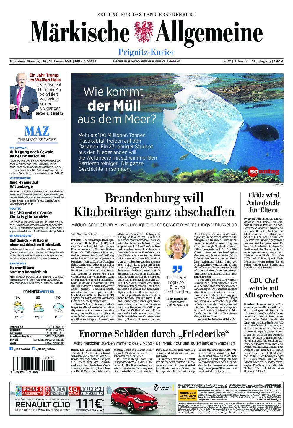 Märkische Allgemeine Prignitz Kurier - 20. Januar 2018