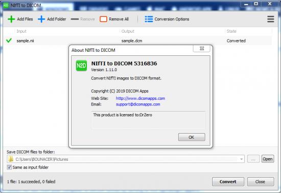 NIfTI to DICOM 1.11.0