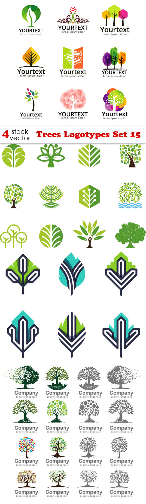 Vectors - Trees Logotypes Set 15