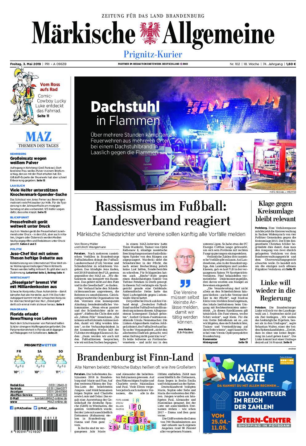 Märkische Allgemeine Prignitz Kurier - 03. Mai 2019