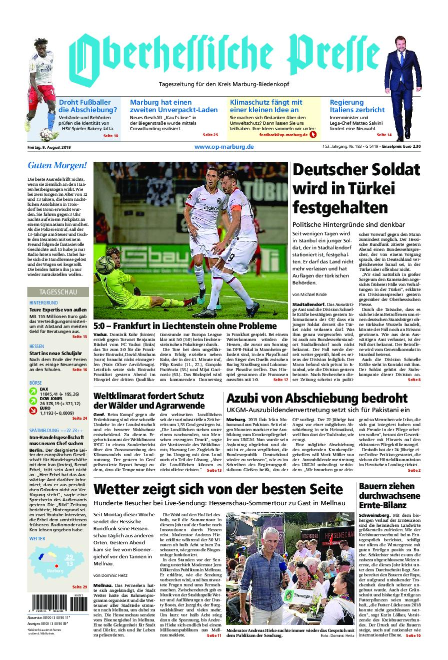Oberhessische Presse Marburg/Ostkreis - 09. August 2019