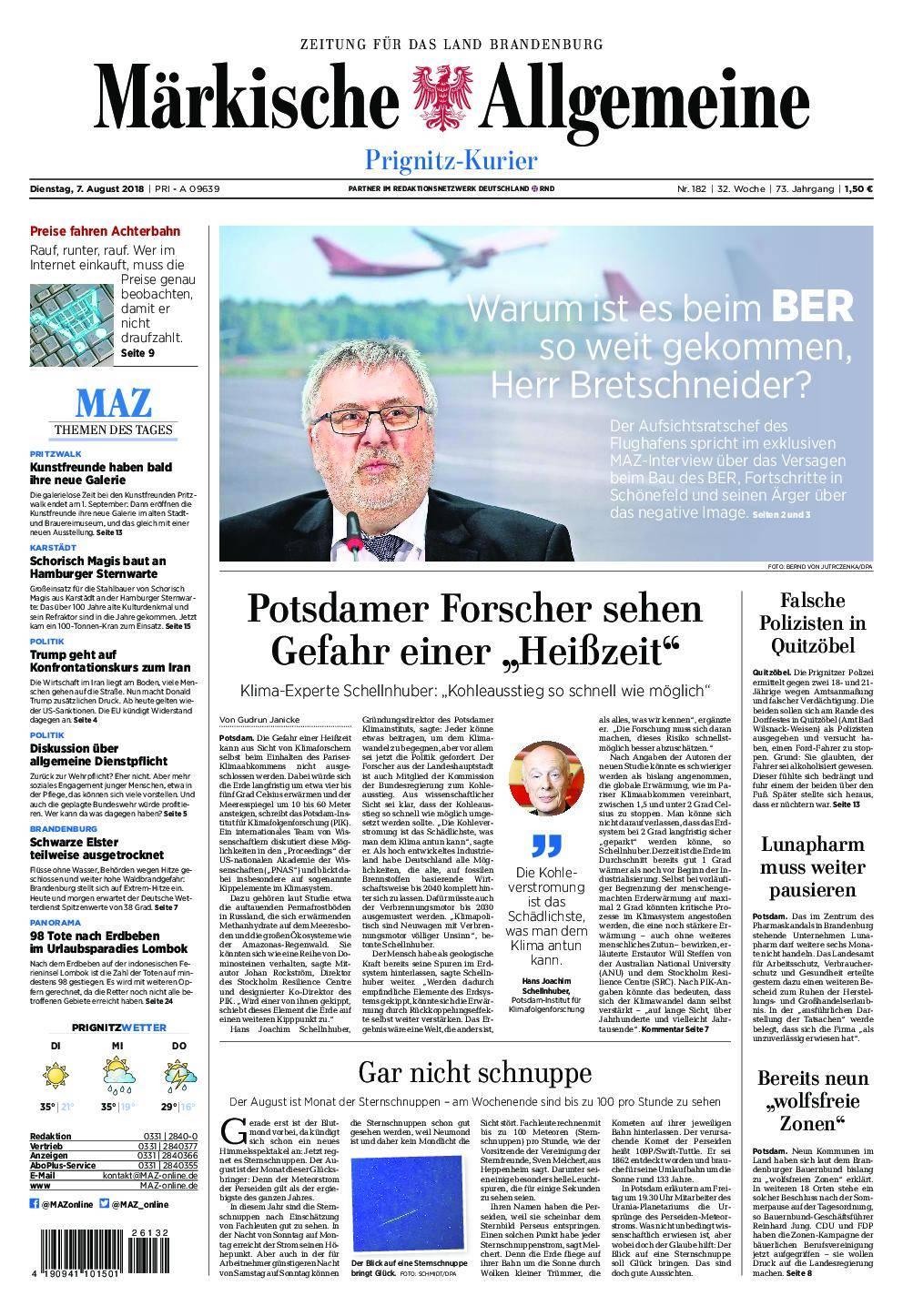 Märkische Allgemeine Prignitz Kurier - 07. August 2018