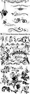 Vectors - Floral Decoration Elements Mix 13