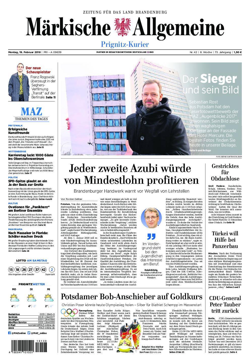 Märkische Allgemeine Prignitz Kurier - 19. Februar 2018