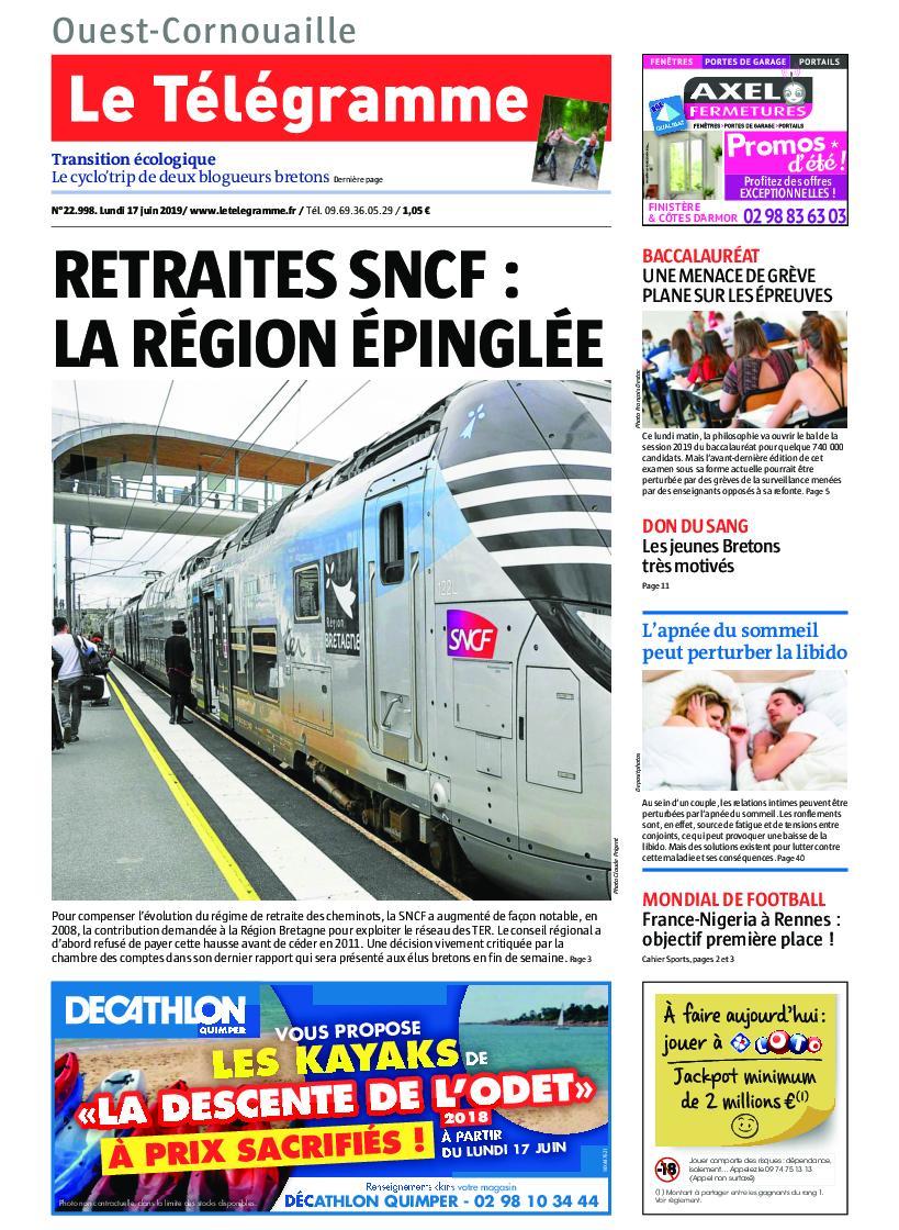 Le Télégramme Ouest Cornouaille – 17 juin 2019